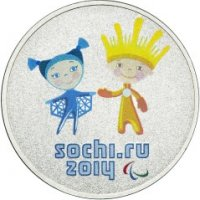Talismans and logo XI Paralympic Winter Games of Sochi (color)